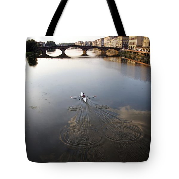 Solitary Sculler Tote Bag by Debi Demetrion