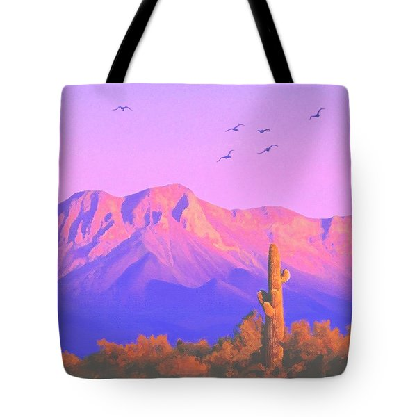 Tote Bag featuring the painting Solitary Silent Sentinel by Sophia Schmierer