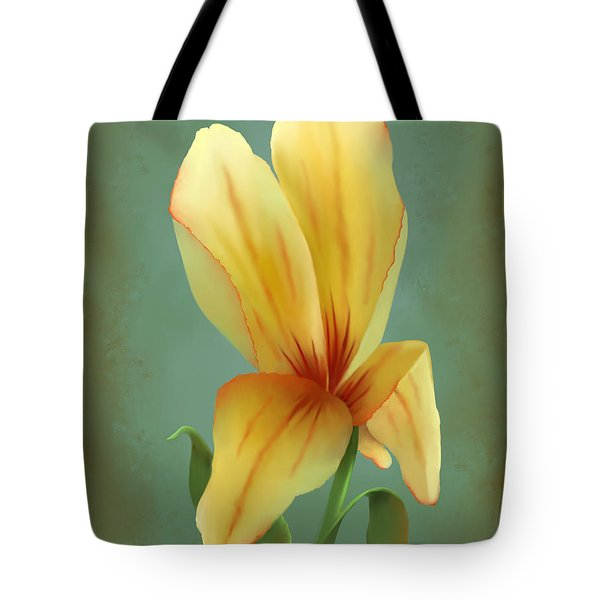 Tote Bag featuring the painting Solitary Yellow Tulip by Sena Wilson