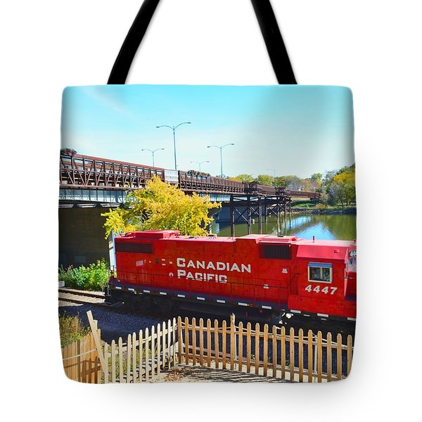 Solo Red Canadian Pacific Engine Along Rock River In Rockford Tote Bag by Jeff at JSJ Photography