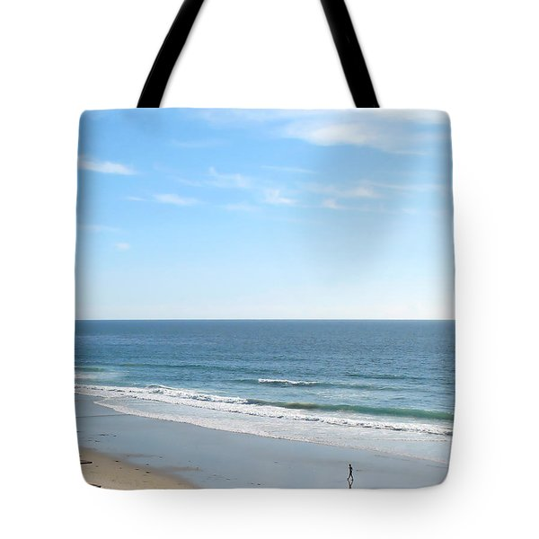 Tote Bag featuring the photograph Solo Walk On Southern California Beach by Connie Fox