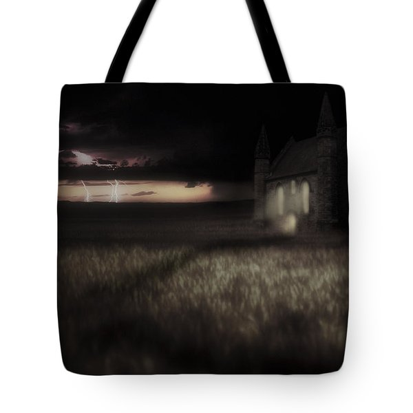 Something Wicked - Lightning - Chapel - Gothic Tote Bag