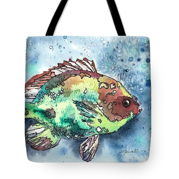 Tote Bag featuring the painting Something's Fishy by Barbara Jewell