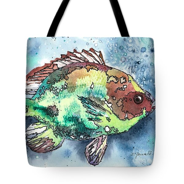 Tote Bag featuring the painting Something's Fishy Two by Barbara Jewell
