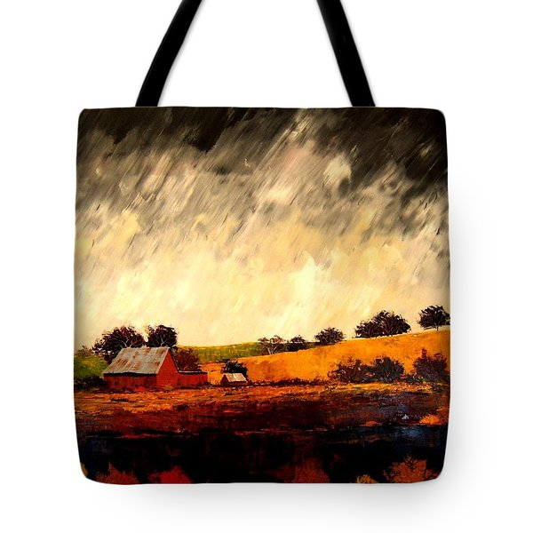 Tote Bag featuring the painting Somewhere Else by William Renzulli