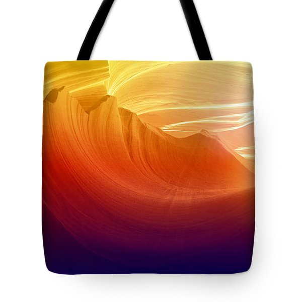 Tote Bag featuring the photograph Somewhere In America Series - Colorful Light In Antelope Canyon by Lilia D