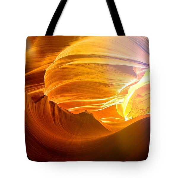 Tote Bag featuring the photograph Somewhere In America Series - Gold Colors In Antelope Canyon by Lilia D