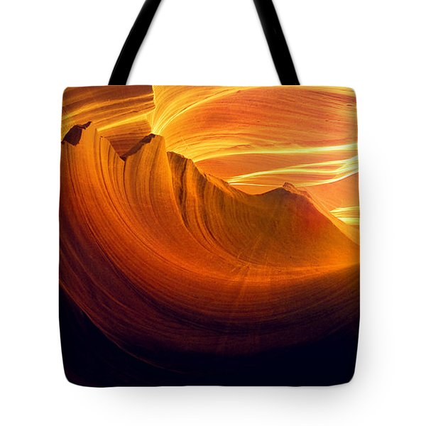 Tote Bag featuring the photograph Somewhere In America Series - Golden Yellow Light In Antelope Canyon by Lilia D