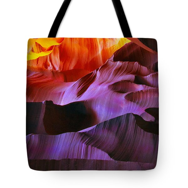Tote Bag featuring the photograph Somewhere In America Series - Transition Of The Colors In Antelope Canyon by Lilia D