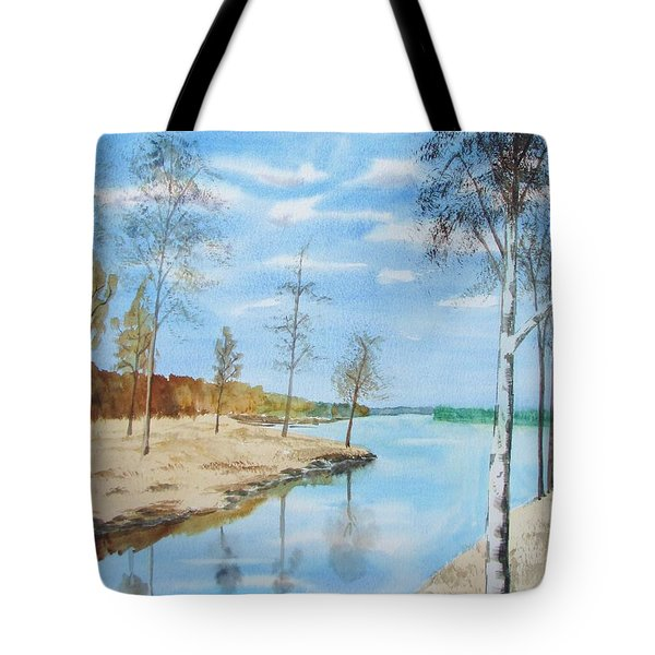 Tote Bag featuring the painting Somewhere In Dalarna by Martin Howard