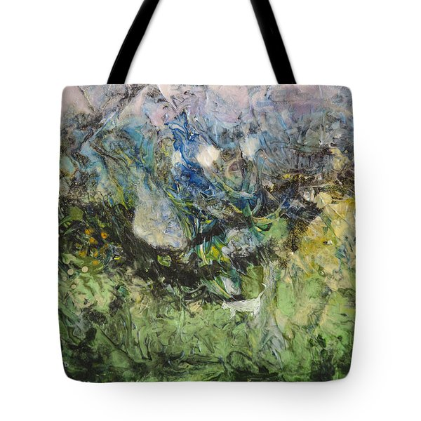 Tote Bag featuring the painting Somewhere by Ron Richard Baviello