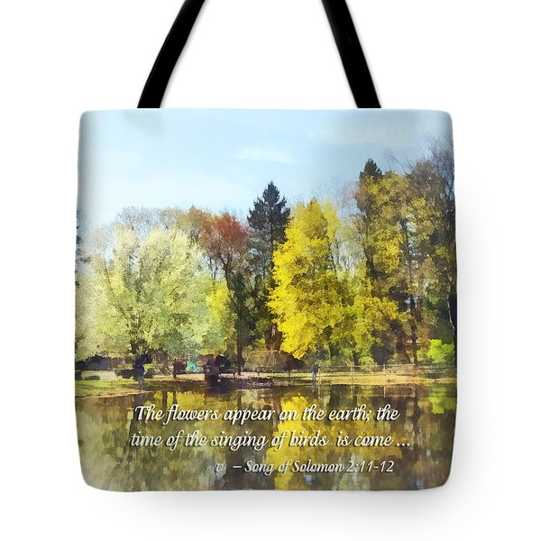 Song Of Solomon 2 11-12 -  The Flowers Appear  Tote Bag by Susan Savad
