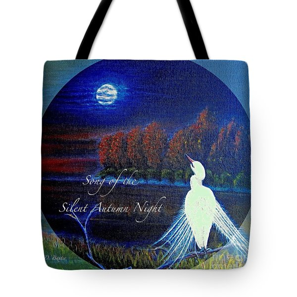 Song Of The Silent  Autumn Night In The Round With Text  Tote Bag