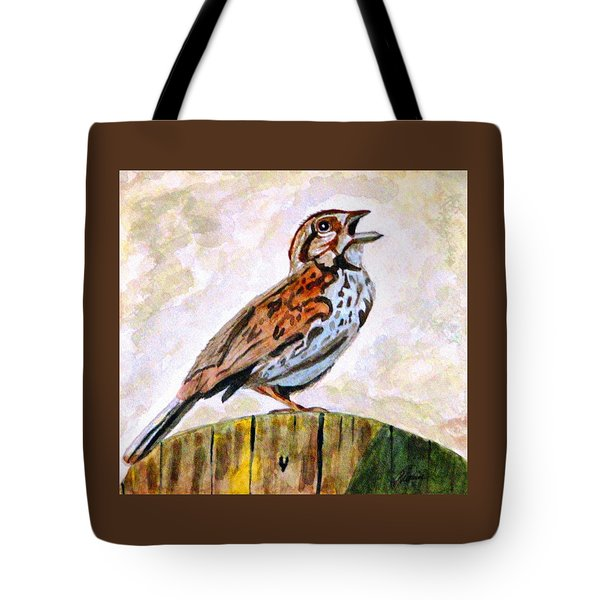 Song Sparrow Tote Bag by Angela Davies
