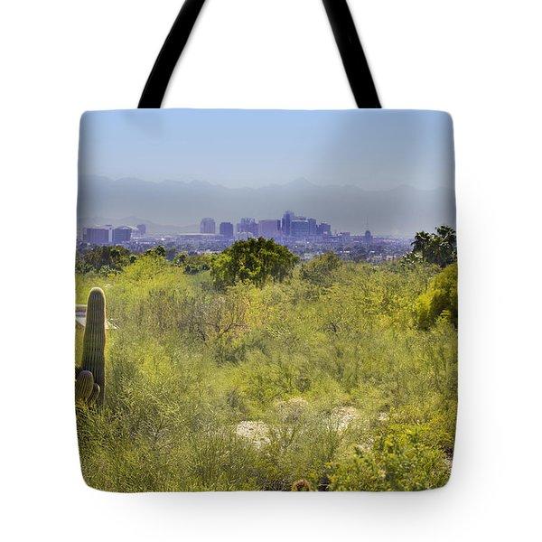 Sonoran Desert With Phoenix Skyline Tote Bag