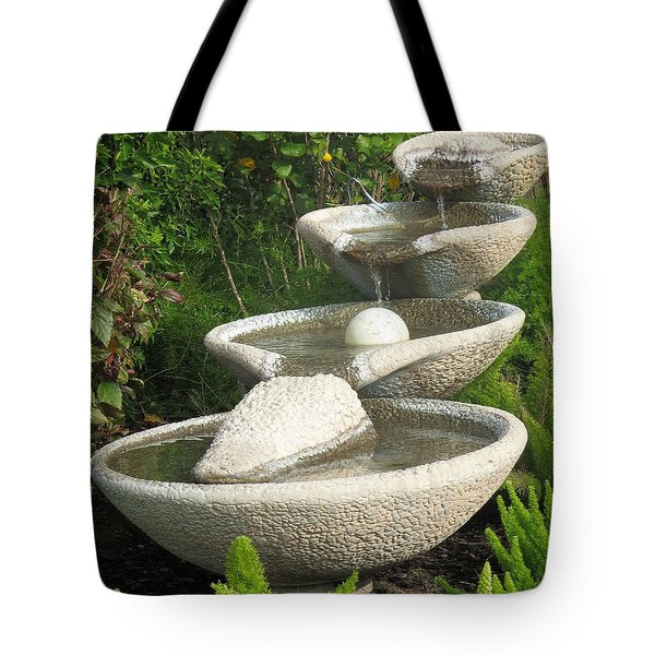 Tote Bag featuring the photograph Soothing Sounds Water Fountains by Ella Kaye Dickey