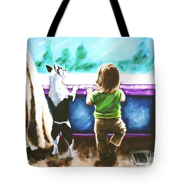 Waiting For Daddy Tote Bag by Jackie Carpenter