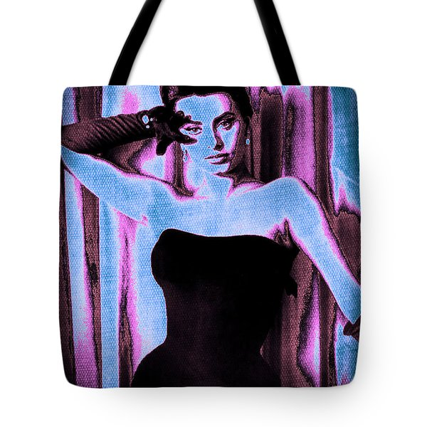 Sophia Loren - Blue Pop Art Tote Bag by Absinthe Art By Michelle LeAnn Scott