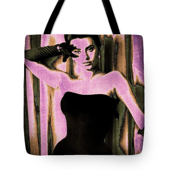 Sophia Loren - Purple Pop Art Tote Bag by Absinthe Art By Michelle LeAnn Scott