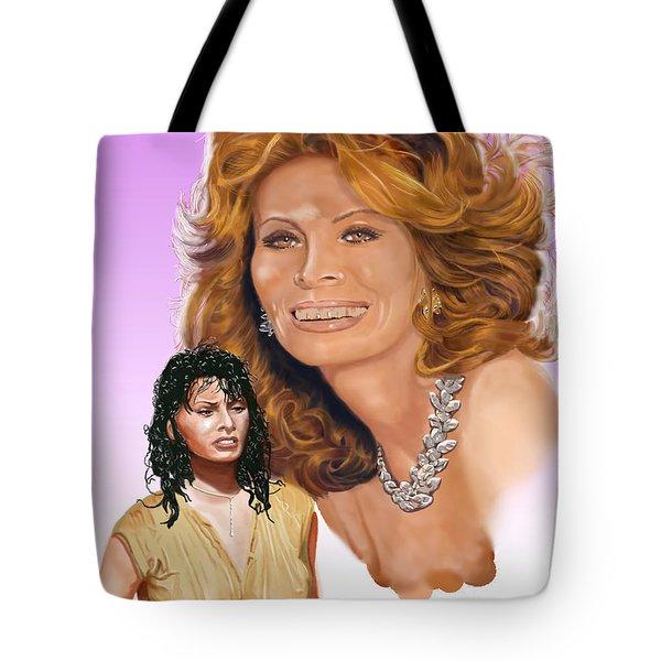 Tote Bag featuring the digital art Sophia Loren by Thomas J Herring