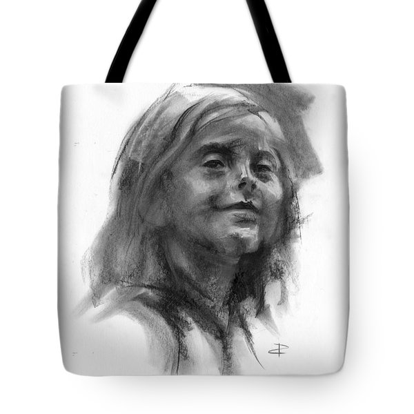 Tote Bag featuring the drawing Sophie by Paul Davenport