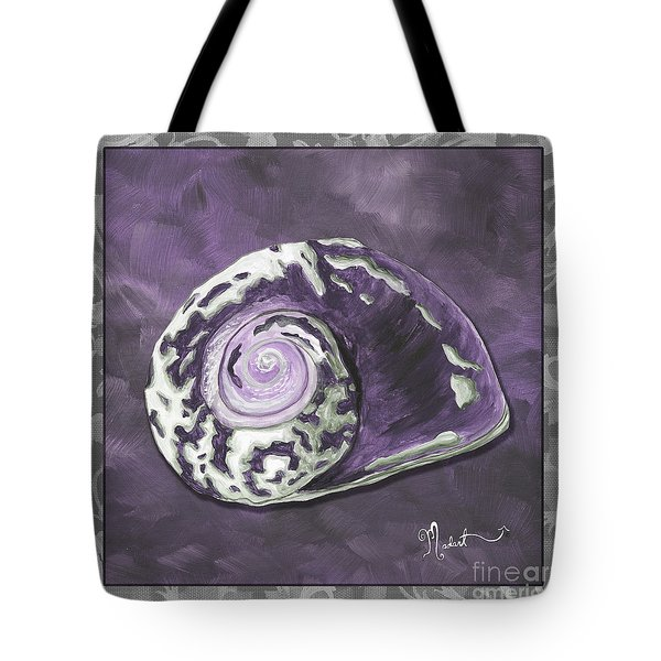Sophisticated Coastal Art Original Sea Shell Painting Purple Royal Sea Snail By Madart Tote Bag by Megan Duncanson