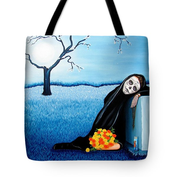 Tote Bag featuring the painting Sorrow And Hope by Evangelina Portillo
