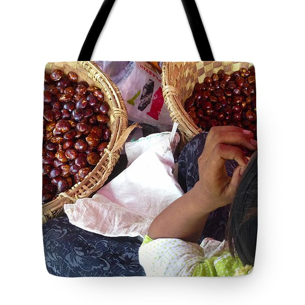 Tote Bag featuring the photograph Sorting Water Chestnuts Zay Cho Street Market 29th Street Mandalay Burma by Ralph A  Ledergerber-Photography