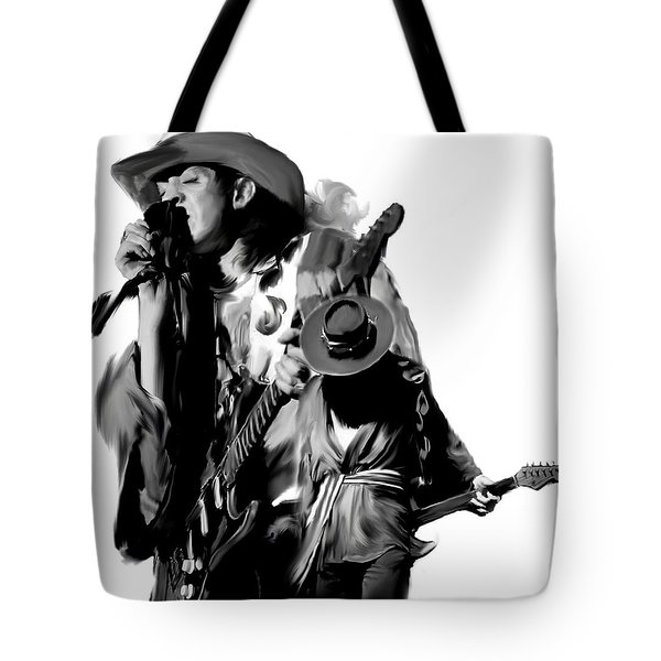 Soul To Soul  Stevie Ray Vaughan Tote Bag by Iconic Images Art Gallery David Pucciarelli