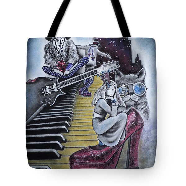 Tote Bag featuring the drawing Sounds Of The 70s by Carla Carson