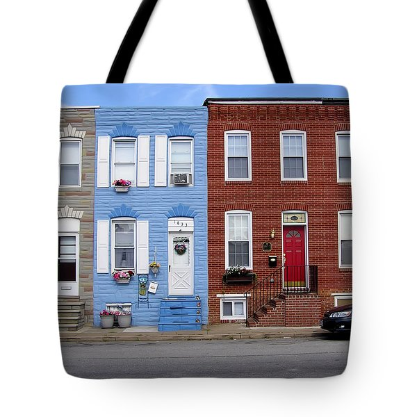 Tote Bag featuring the photograph South Baltimore Row Homes by Brian Wallace