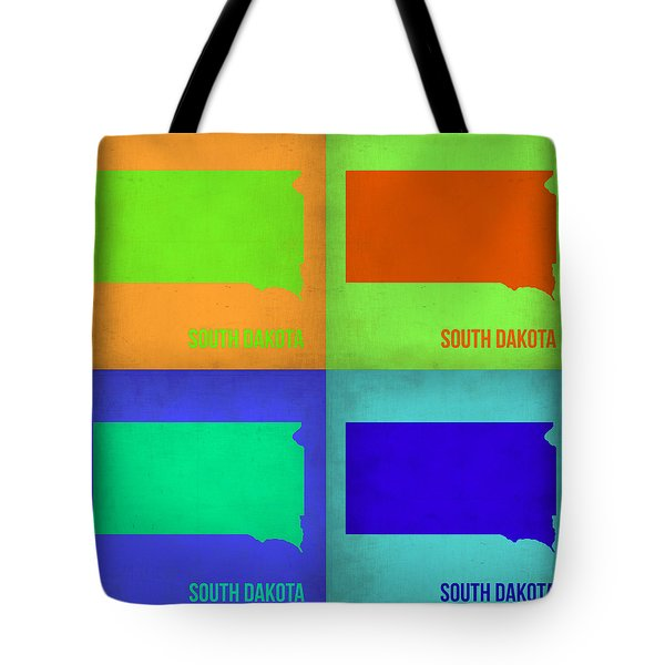 South Dakota Pop Art Map 1 Tote Bag by Naxart Studio