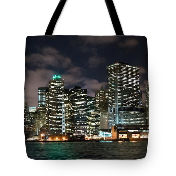 South Ferry Manhattan At Night Tote Bag