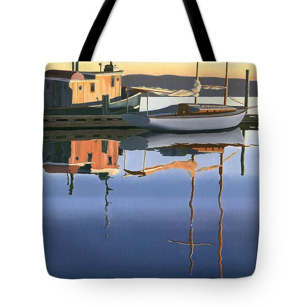 Tote Bag featuring the painting South Harbour Reflections by Gary Giacomelli