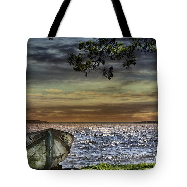 South Manistique Lake With Rowboat Tote Bag