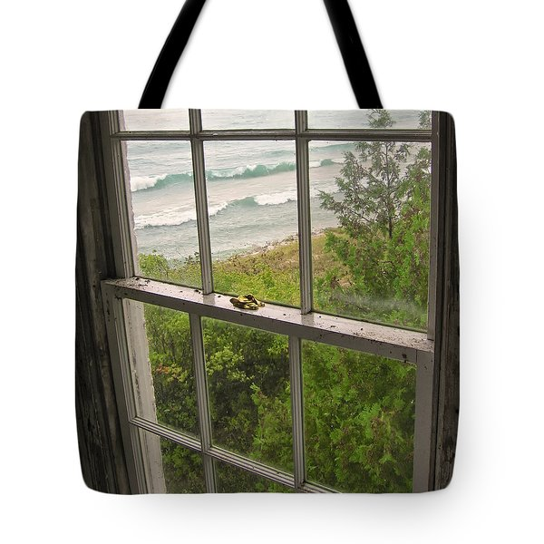 South Manitou Island Lighthouse Window Tote Bag