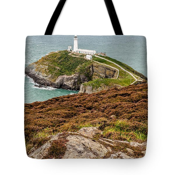 South Stack Lighthouse Tote Bag by Adrian Evans