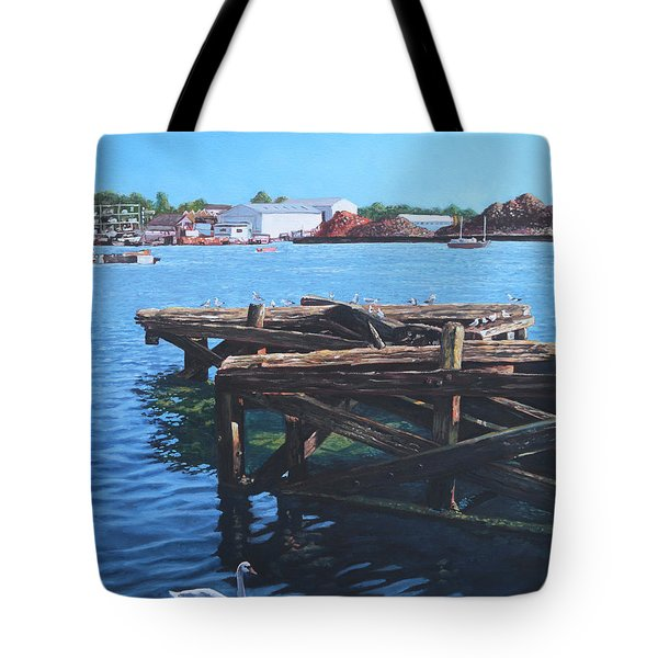 Southampton Northam River Itchen Old Jetty With Sea Birds Tote Bag by Martin Davey