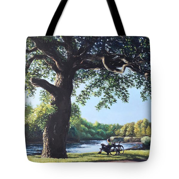 Southampton Riverside Park Oak Tree With Cyclist Tote Bag by Martin Davey