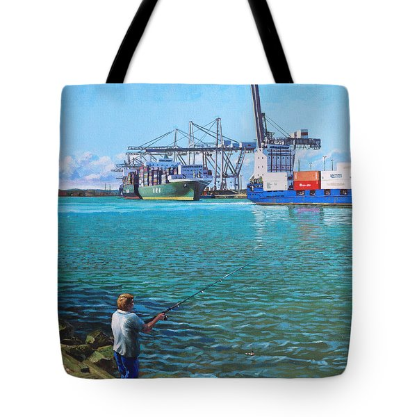 Southampton Western Docks Container Terminal As Seen From Marchwood Tote Bag