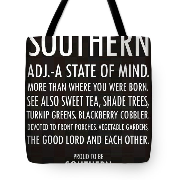 Southern State Of Mind Black And White Tote Bag