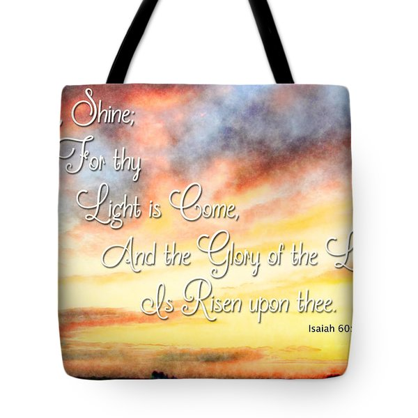 Southern Sunset - Digital Paint IIi With Verse Tote Bag by Debbie Portwood