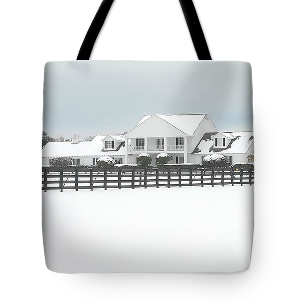 Tote Bag featuring the photograph Snow Covered Southfork Ranch   by Dyle   Warren