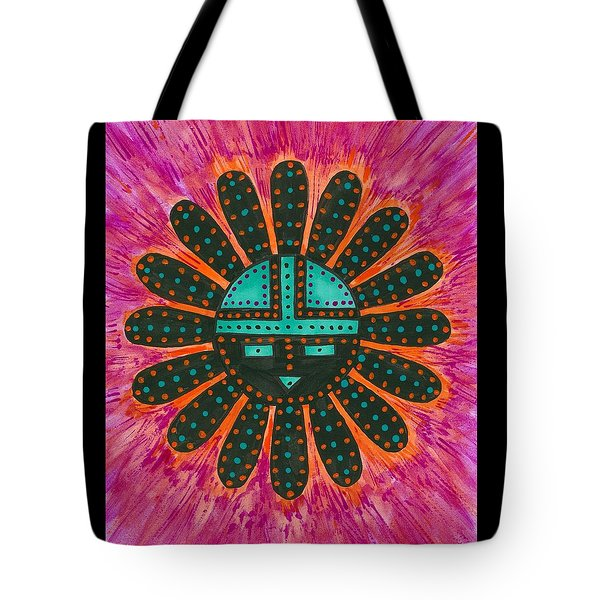 Tote Bag featuring the painting Southwest Sunburst Sunface by Susie Weber