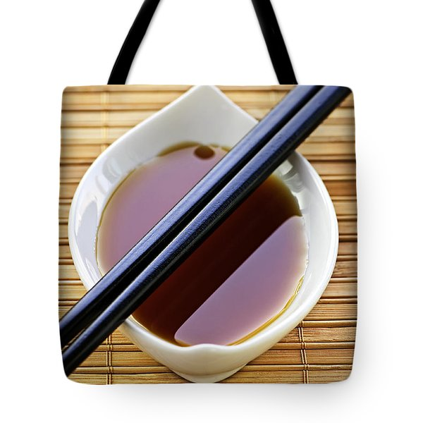 Soy Sauce With Chopsticks Tote Bag by Elena Elisseeva