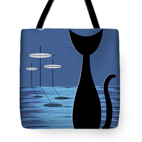 Tote Bag featuring the digital art Space Cat In Blue by Donna Mibus