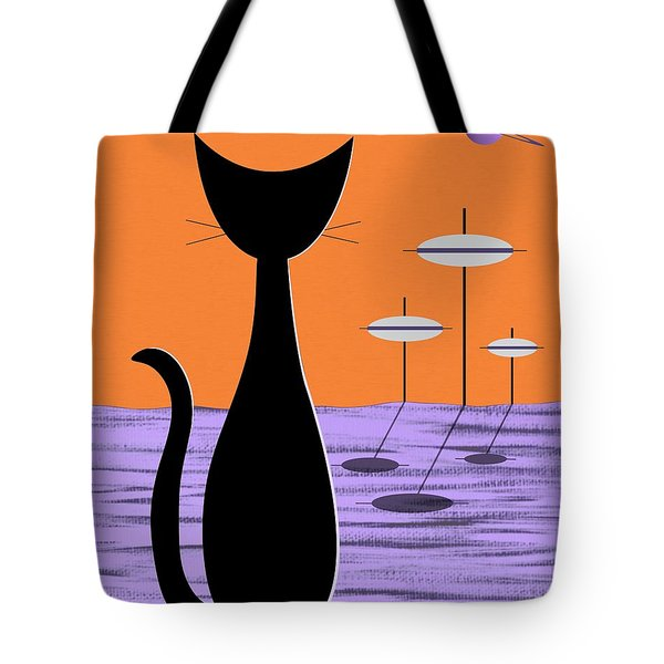 Tote Bag featuring the digital art Space Cat Orange Sky by Donna Mibus