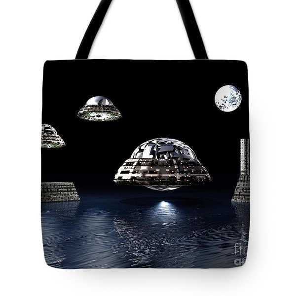 Tote Bag featuring the digital art Space City by Jacqueline Lloyd