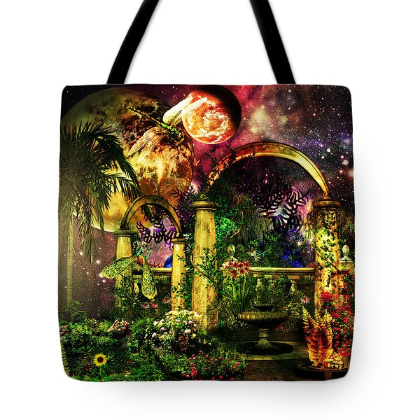 Space Garden Tote Bag by Ally  White