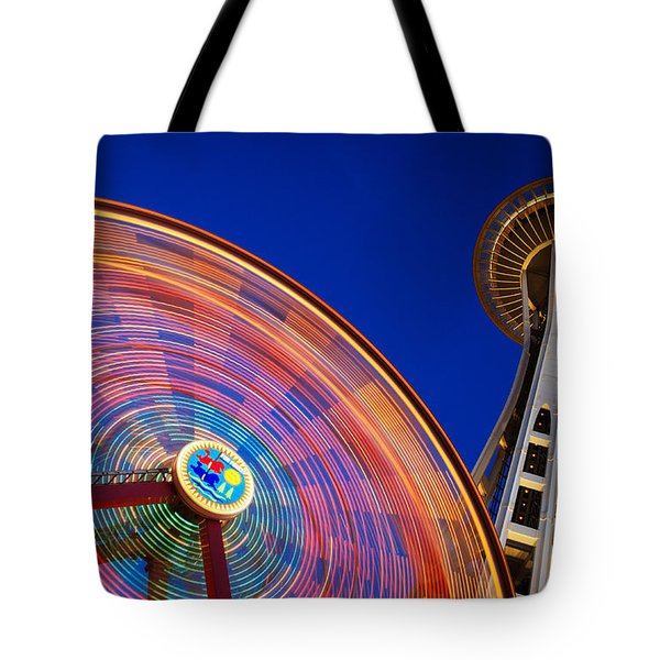 Space Needle And Wheel Tote Bag by Inge Johnsson